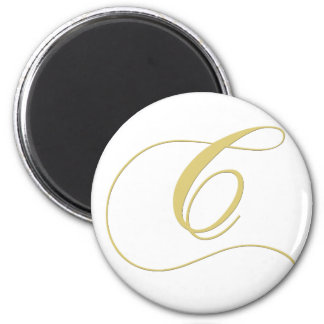 Monogram Letter C Golden Single Magnet