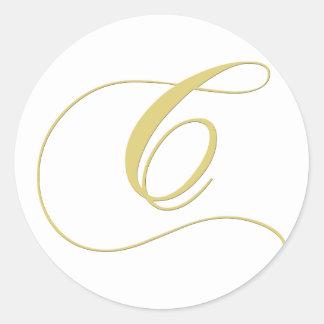 Monogram Letter C Golden Single Round Sticker