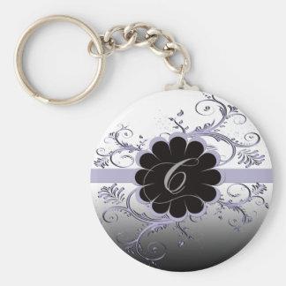 Monogram Letter C Violet Key Ring