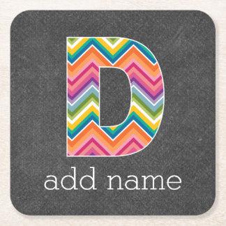 Monogram Letter D - Chalkboard Chevron Pattern Square Paper Coaster