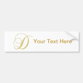 Monogram Letter D Golden Single Bumper Sticker