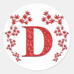 Monogram Letter D Red Leaves Round Sticker