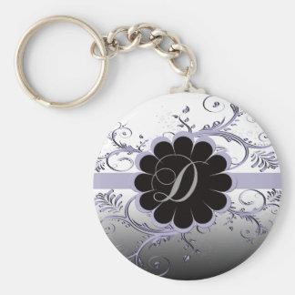 Monogram Letter D Violet Key Ring