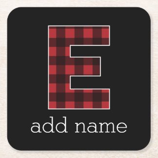 Monogram Letter E - Black and Red Buffalo Plaid Square Paper Coaster
