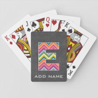 Monogram Letter E - Bright Chevron Chalkboard Poker Deck