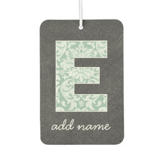 Monogram Letter E - Chalkboard and Mint Damasks Car Air Freshener