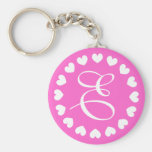 Monogram letter E keychain with white love hearts