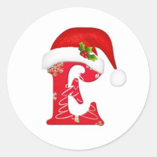 monogram letter e santa hat christmas sticker