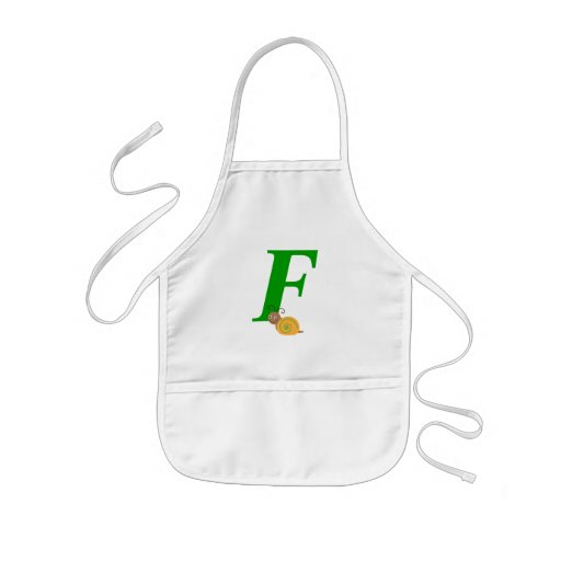 Monogram letter F brian the snail kids apron