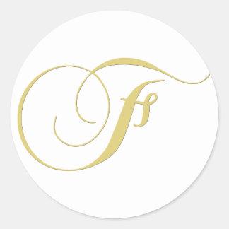 Monogram Letter F Golden Single Round Sticker