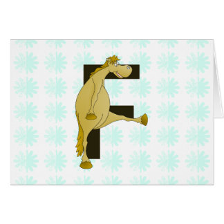 Monogram Letter F Pony Card