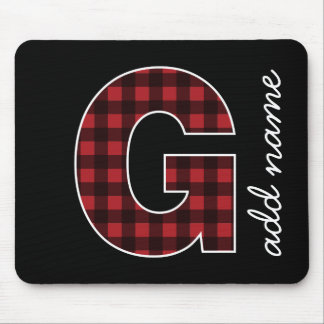 Monogram Letter G - Black and Red Buffalo Plaid Mouse Pad