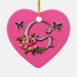 MONOGRAM LETTER G - HEART ORNAMENT