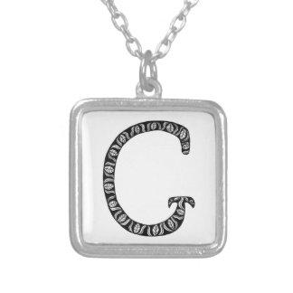 Monogram Letter G Square Pendant Necklace