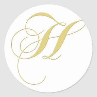Monogram Letter H Golden Single Classic Round Sticker