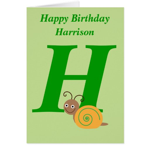 Monogram letter H personalised name kids card