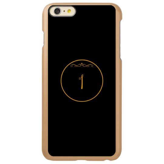Monogram letter 'I' gold colour on black