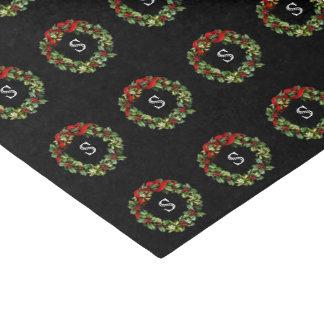 "Monogram Letter Initial Wreath Christmas 10"" X 15"" Tissue Paper"