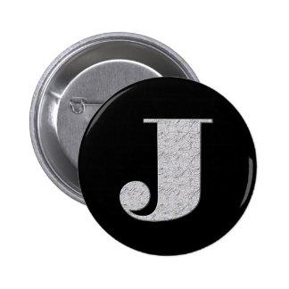 Monogram Letter J 6 Cm Round Badge