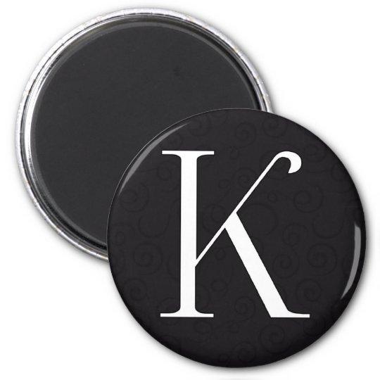 Monogram Letter K 6 Cm Round Magnet