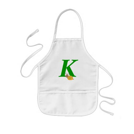 Monogram letter K brian the snail kids apron