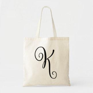 "Monogram Letter ""K"" Budget Tote-Canvas Tote Bag"
