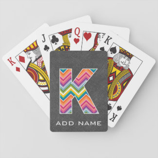 Monogram Letter K - Chalkboard and Bright Chevrons Playing Cards
