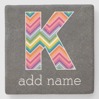 Monogram Letter K - Chalkboard and Bright Chevrons Stone Coaster