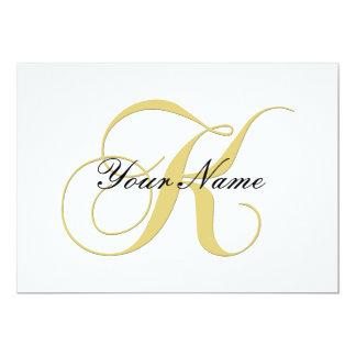Monogram Letter K Golden Single Customizable 13 Cm X 18 Cm Invitation Card