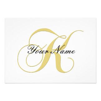 Monogram Letter K Golden Single Customizable Custom Announcement