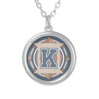 "Monogram Letter ""K"" Initial Round Pendant Necklace"