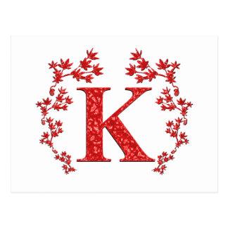 Monogram Letter K Red Leaves Postcard