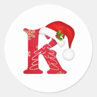Monogram letter K, Santa hat Christmas  Sticker