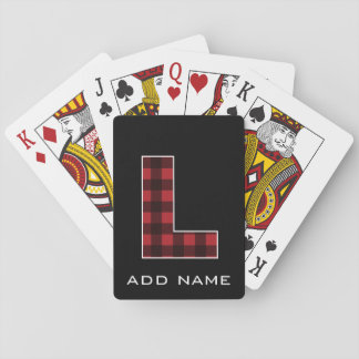 Monogram Letter L - Black and Red Buffalo Plaid Playing Cards