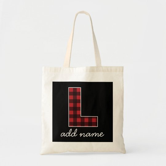 Monogram Letter L - Black and Red Buffalo Plaid Tote Bag