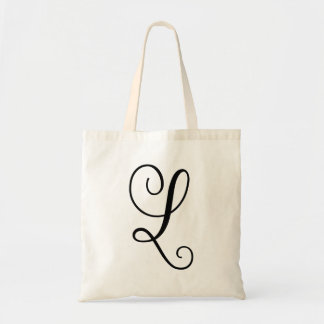"Monogram Letter ""L"" Budget Tote-Canvas Tote Bag"
