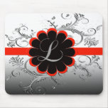 Monogram Letter L Red Mouse Pad