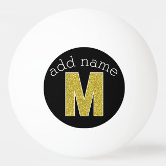 Monogram Letter M - Black and Fake Gold Glitter Ping Pong Ball