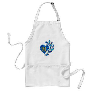 Monogram Letter M Blue Heart Apron