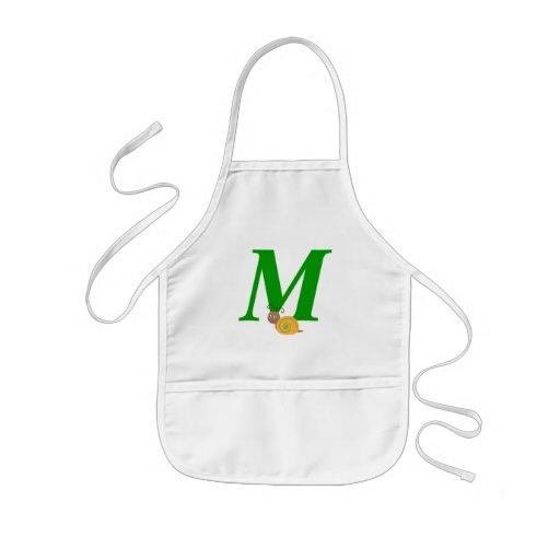 Monogram letter M brian the snail kids apron
