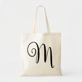 "Monogram Letter ""M"" Budget Tote-Canvas Tote Bag"