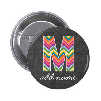 Monogram Letter M - Chalkboard and Bright Chevrons 6 Cm Round Badge