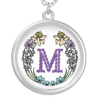 Monogram Letter M Flower Pendant Necklace