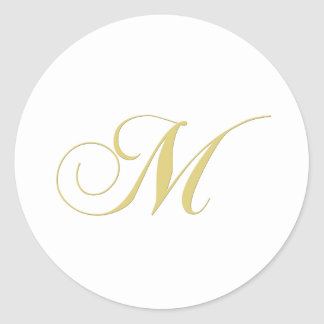 Monogram Letter M Golden Single Classic Round Sticker