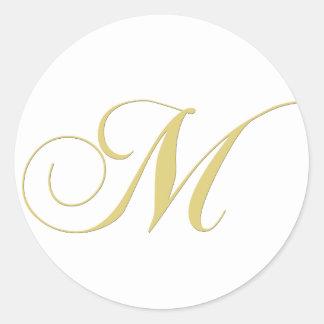 Monogram Letter M Golden Single Round Sticker