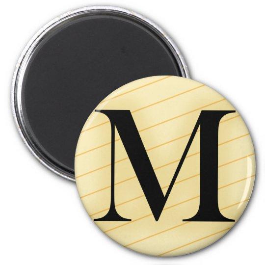 Monogram Letter - M (orange) 6 Cm Round Magnet