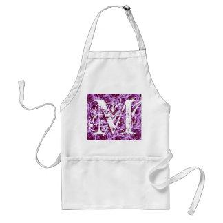 Monogram Letter M Purple Roses Apron