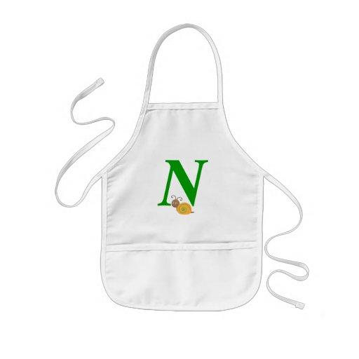 Monogram letter N brian the snail kids apron