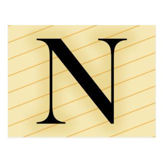 Monogram Letter - N (orange) Post Cards