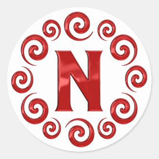 Monogram Letter N Red Round Stickers